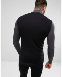 ASOS - Black Long Sleeve Muscle T-shirt With Contrast Sleeve And Neck for Men - Lyst