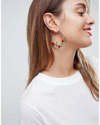 ASOS DESIGN - Metallic Asos Rose Detail Hoop Earrings - Lyst