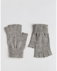 ASOS - Fingerless Gloves In Gray Marl for Men - Lyst