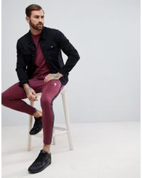 Rose London - Red Muscle T-shirt In Burgundy With Taping for Men - Lyst