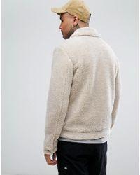 ASOS - Natural Borg Western Jacket In Ecru for Men - Lyst