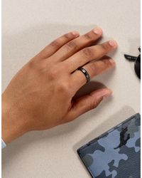 Icon Brand - Metallic Hammered Band Ring In Gunmetal for Men - Lyst