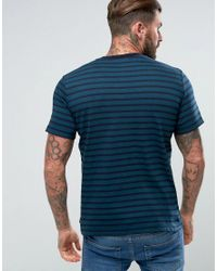 PS by Paul Smith | Blue Herringbone Horizontal Stripe T-shirt In Teal for Men | Lyst