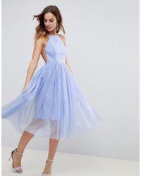 ASOS - Blue Asos Premium Scuba Pinny Midi Tulle Dress - Lyst