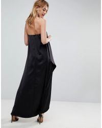 ASOS - Black Bandeau Wrap Satin Midi Dress - Lyst