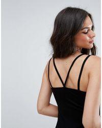 ASOS - Black Mini Double Strap Bodycon Dress - Lyst