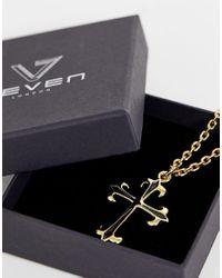 Seven London Halskette in Gold mit Kreuzanhänger in Metallic für Herren