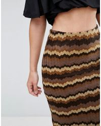 Glamorous - Brown Bodycon Skirt - Lyst