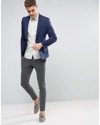 ASOS - Blue Wedding Skinny Suit Jacket With Square Hem In Navy for Men - Lyst