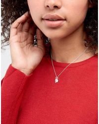 ASOS - Metallic Sterling Silver Feather And Disc Necklace - Lyst