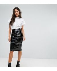 Missguided - Black Vinyl Zip Detail Midi Pencil Skirt - Lyst