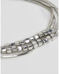 ASOS - Metallic Fine Beads And Chain Multirow Bracelet - Lyst