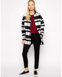 Mango - Black Checked Coat - Lyst
