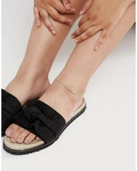 ASOS - Metallic Pack Of 2 Bar And Ball Chain Anklets - Lyst