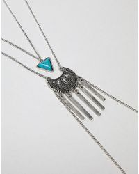 ASOS - Metallic Design Triangle Stone And Engraved Pendant Body Chain - Lyst