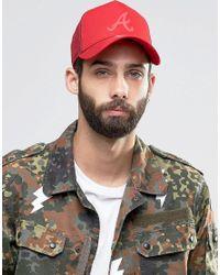 KTZ - Red Trucker Cap Ny Atlanta Braves Tonal for Men - Lyst