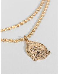 ASOS - Metallic Asos Vintage Style Icon Pendant Rope Chain Multirow Necklace - Lyst