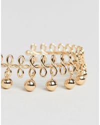ASOS DESIGN - Metallic Design Wire Wrapped And Ball Charm Cuff Bracelet - Lyst
