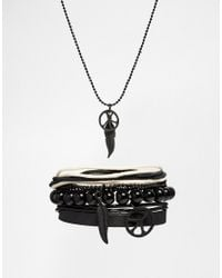 ASOS | Necklace And Bracelet Pack With Peace And Feather In Black for Men | Lyst