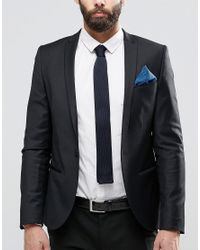 ASOS - Black Knitted Tie In Navy With 4 Way Pocket Square for Men - Lyst