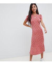 50f51d861b3 Lyst - ASOS Asos Design Petite City Maxi Tea Dress In Polka Dot in Red