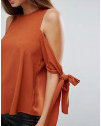 ASOS - Orange Cold Shoulder Top With Tie Sleeve - Lyst