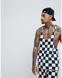ASOS - Blue Extreme Racer Back Tank With Checkerboard Print Co-ord for Men - Lyst