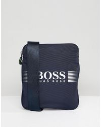 BOSS - Blue Pixel Flight Bag In Navy for Men - Lyst