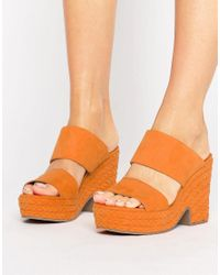 ASOS | Orange Trinidad Plaited Mule Sandals | Lyst