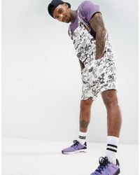 ASOS | White Festival Short Overalls In All Over Graffiti Print for Men | Lyst