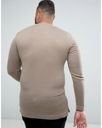 ASOS - Natural Plus Muscle Fit Longline Jumper With Side Zips In Oatmeal for Men - Lyst