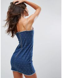 Jaded London - Blue Festival Cami Dress In Diamante Denim - Lyst