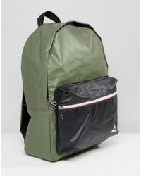 Le Coq Sportif - Multicolor Khaki Leather Look Backpack With Tricolore Trim - Lyst
