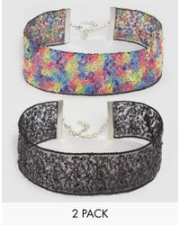 ASOS | Multicolor Pack Of 2 Confetti Sequin Chokers | Lyst