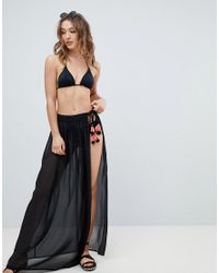 fbb97d58f New Look Sheer Tassel Maxi Wrap Skirt in Black - Lyst