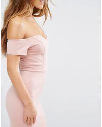 John Zack - Pink Off Shoulder Ruffle Midi Dress - Lyst