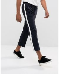 7e93996877f698 ASOS - Blue Straight Crop Smart Trousers In Navy With White Side Stripe for  Men -