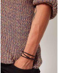 Seven London - Leather Woven Wrap Bracelet - Black for Men - Lyst