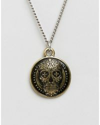 Icon Brand - Metallic Skull Disc Pendant Necklace In Antique Silver for Men - Lyst
