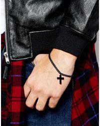 ASOS - Bracelet With Cross In Black for Men - Lyst