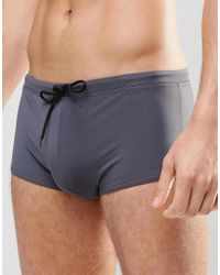 ASOS - Blue Swim Hipster Trunks In Gray for Men - Lyst
