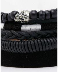 ASOS - Leather Bracelet Pack In Black for Men - Lyst