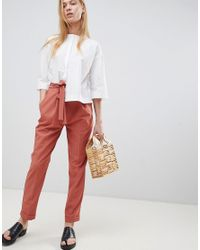 ASOS - Orange Design Woven Peg Pants With Obi Tie - Lyst