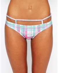 ASOS - Multicolor Pastel Check Caged Strappy Bikini Bottom - Lyst