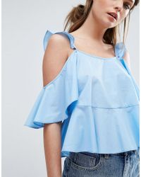 ASOS | Yellow Cotton Sun Top With Ruffle Cold Shoulder | Lyst