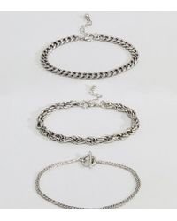 Reclaimed (vintage) - Multicolor Inspired Chain Bracelets In 3 Pack Exclusive To Asos for Men - Lyst