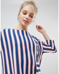 Monki - Blue Stripe Pocket Front Smock Dress - Lyst