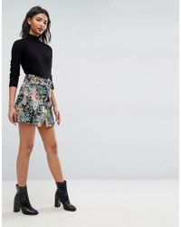 ASOS - Multicolor Asos Mini Skirt In Floral Jacquard With Belt - Lyst
