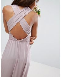 ASOS - Purple Wedding Drape Twist Back Maxi Dress - Lyst