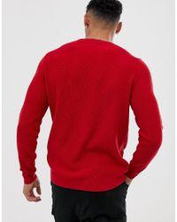ASOS - Red Gebreide Geribbelde Trui In Rood for Men - Lyst